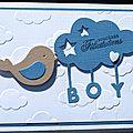 21. blanc, bleu et caramel - oiseau dans les nuages