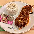 Dos de cabillaud en croute de chorizo et son riz blanc