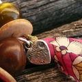 Bracelet Liberty Rose Fushia et anis - détail breloque