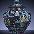 A large Ming Fahua baluster <b>jar</b> <b>and</b> <b>cover</b>, Guan, Ming Dynasty, First half 16th century.
