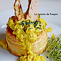 Vol au vent aux courgettes, bâtonnets de filet de <b>pintade</b>, sauce au curry royal