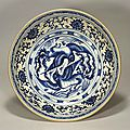 Blue-and-white charger with paired birds design, vietnamese, 15th century