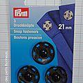 Bouton pression à coudre noir 21 mm