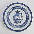 A blue and white porcelain armorial charger, <b>Qianlong</b> <b>period</b> (<b>1736</b>-<b>1795</b>)