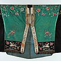An embroidered green silk damask Daoist <b>priest</b>'s robe, Chinese, early 20th century