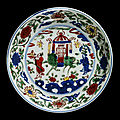 Dish with underglaze blue and overglaze enamel decoration in 'wucai' style, ming dynasty, wanli mark and period (1573-1620)