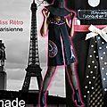 Robe trapèze Graphique Noire Blanche Rose à Pois & Tour Eiffel