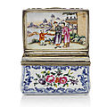 A chinese famille rose silver-mounted porcelain rectangular snuff box, third quarter 18th century.