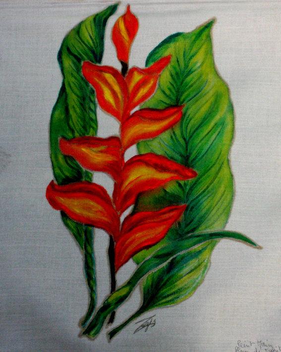 tableau fleur du paradis peint sur toile de jute le blog cr atif de mohati. Black Bedroom Furniture Sets. Home Design Ideas