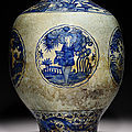 An exceptionally large <b>Safavid</b> blue and white baluster pottery jar, Kirman, Iran, 1st half 17th century