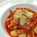Gnocchis maisons et émincé de porc à la tomate