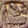 basilique de Saint-Denis, portail, le forgeron au travail