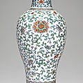 A rare large doucai ''<b>floral</b>' meiping and cover, Qing dynasty, 18th century