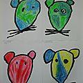 Autour du train des souris 4 : coloriage des têtes de souris