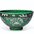 An unusual enameled deep 'lotus roundel' bowl, <b>Kangxi</b> <b>six</b>-<b>character</b> <b>mark</b> <b>and</b> <b>of</b> <b>the</b> <b>period</b> (<b>1662</b>-<b>1722</b>)