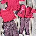 Ensemble 5 pièces rouge et marron HIVER <b>COMPAGNIE</b> DES <b>PETITS</b> Fille 3 mois 20€