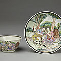 Cup and saucer, porcelain painted with overglaze enamels in the famille rose palette and gilded.
