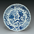 An unusual blue and white dish with foliate rim, Wanli six-character mark within a double circle in underglaze blue and of the period (1573-1619)