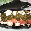 Papillote saumon épinards champignons bleu d'auvergne