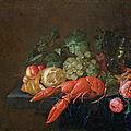 <b>Cornelis</b> de Heem (Leiden 1631–1695 Antwerp), Still life with lobster, roses, rummer and lemon on a stone plinth