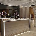 Concept du futur bar première classe de singapore airlines dévoilée par un designer.