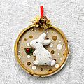 Lapin de Noël dans son médaillon