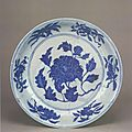 A large blue and white 'peony' dish, Xuande mark and period