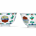 A fine and rare pair of doucai 'lingzhi' cups, Chenghua six-character marks, <b>Yongzheng</b> <b>period</b> (1723-1735)
