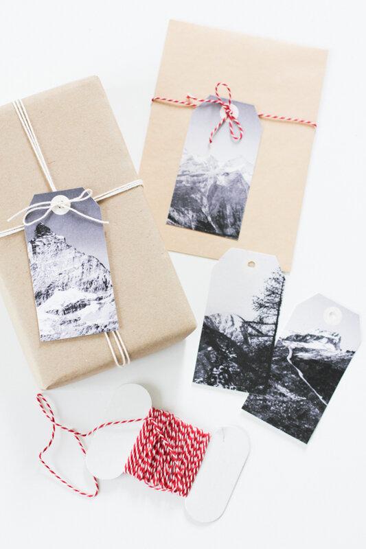 id es de paquets cadeaux les tiquettes montagnes sous la neige gratuit imprimer c 39 est. Black Bedroom Furniture Sets. Home Design Ideas