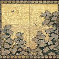White Flowers in front of a Bamboo Fence, Rinpa school, Genroku period, 1688-<b>1703</b>
