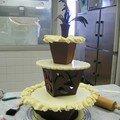 Le gâteau de mariage déjà debout!
