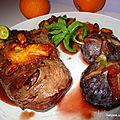 Magret de canard laqué, aux figues et sauce orange/pistaches