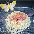 Spaghetti bacon/ saucisses de toulouse