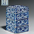 A three-tiered blue and white square box and <b>cover</b>, Wanli six-character marks and of the period (1573-1619)