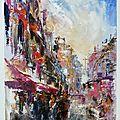Rue de paris ,huile sur toile ,46x38