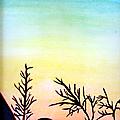 Peinture de coucher de soleil en aquarelle