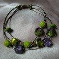 bracelet serpentine vert violet