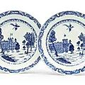 A pair of Chinese Export blue and white