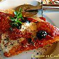 Pizza fine au levain kayser, simplissime : tomates confites, mozza, origan frais
