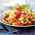 Tagliatelles aux tomates cerises et basilic