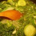 Soupe verte aux <b>fanes</b> de radis.