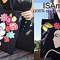 Tote bag sac noir multicolore Visage fleurs made in France