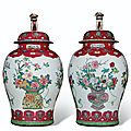 A massive pair of ruby and famille rose jars and covers, Yongzheng period (1723-<b>1735</b>)