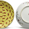 A pair of yellow-ground 'One Hundred Bat' dishes, <b>Tongzhi</b> marks and period