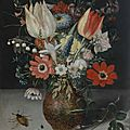 Peter Binoit, Still Life of Flowers in an <b>Earthenware</b> Vase on a Stone Ledge, With Insects and a Caterpillar Beside it