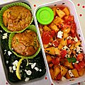 Muffin, épinards et salade melon-tomate