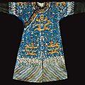 A blue-ground embroidered dragon robe, <b>Jifu</b>. Qing dynasty, Jiaqing-Daoguang Period