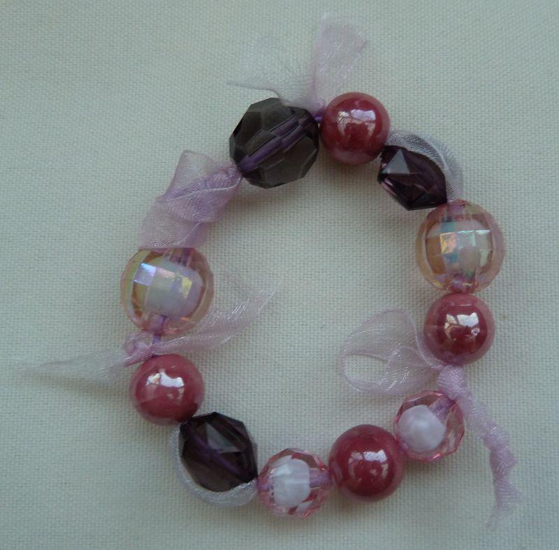 Bracelet perles ruban organza Rose