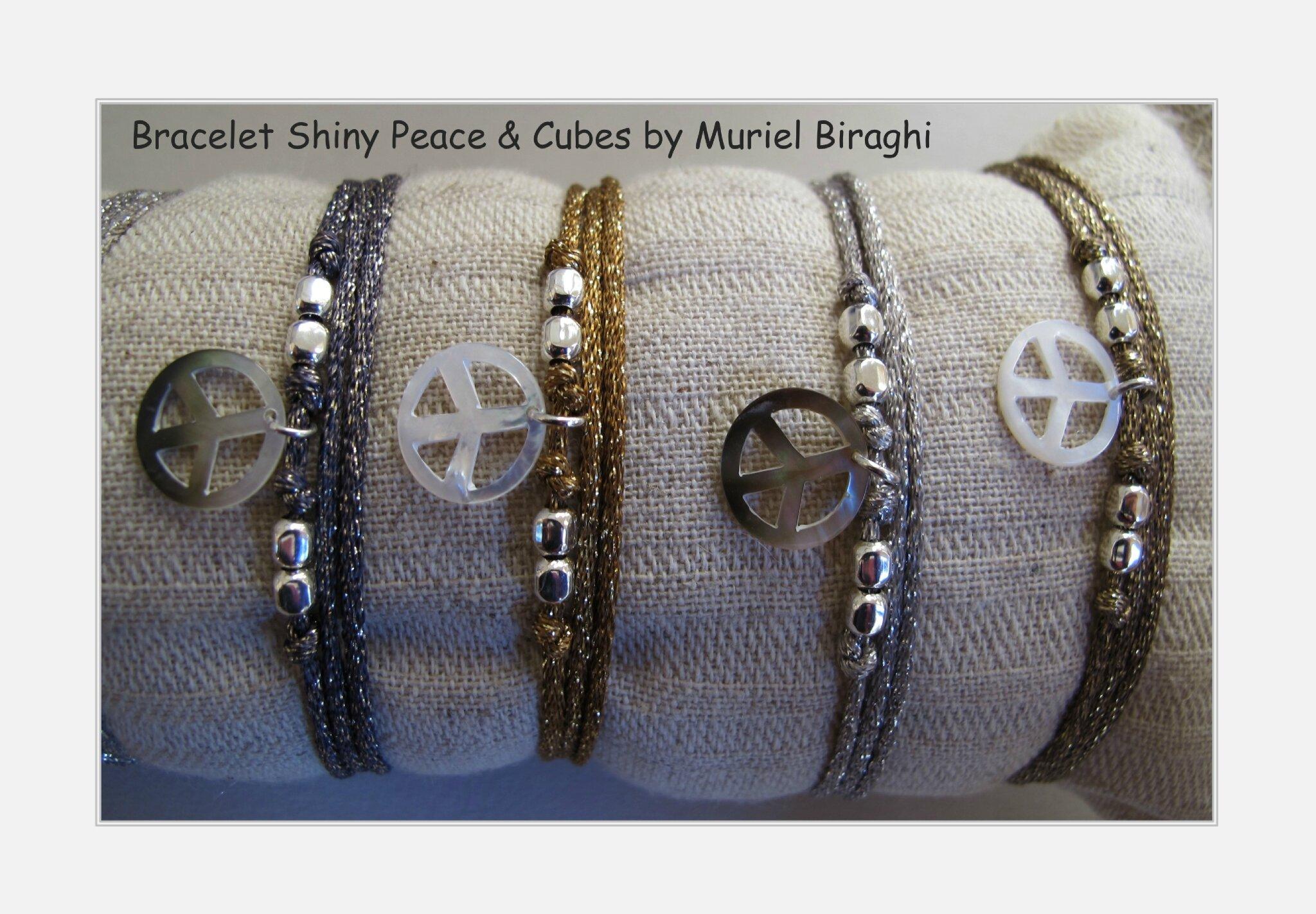 Bracelet/Collier Shiny Peace & Cubes