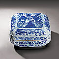 A blue and white 'dragon' box and cover, mark and period of jiajing (1522-1566)